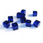 10x Blaue Kristallglas Würfel Perlen 8 x 8 mm
