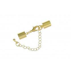 1x gold Verschluss zum Einkleben 10x7mm Innen 5,5mm Endkappe mit Karabiner zum Einkleben - Schmuckzubehör Endkappe