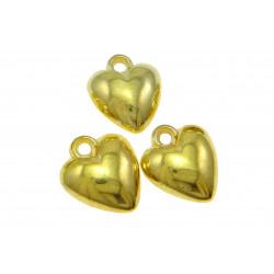 2x 18K vergoldete Herz Acryl Anhänger ca. 14x16mm goldfarbene Schmuckanhänger - gold Schmuckzubehör