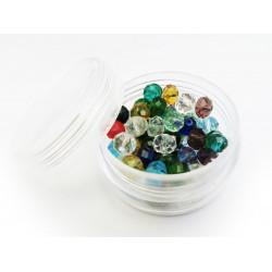 15g 6x4mm geschliffene Kristallglasperlen im bunten Perlenmix - buntes Schmuckzubehör