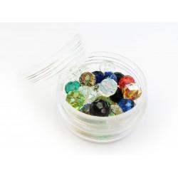 15g 8x6mm geschliffene Kristallglasperlen im bunten Perlenmix - buntes Schmuckzubehör