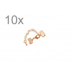10x 10mm rosegold Bandklemmen Verschluss mit Karabiner und Kette rosegold - rosegold Schmuckzubehör