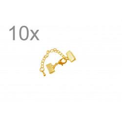 10x 10mm Bandklemme gold Verschluss mit Karabiner und Kette goldfarben - gold Schmuckzubehör