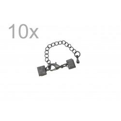 10x 7mm Bandklemme gunmetal Verschluss mit Karabiner und Kette dunkel metallfarben / schwarz - gunmetal Schmuckzubehör