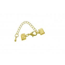 1x 7mm Bandklemme gold Verschluss mit Karabiner und Kette goldfarben - gold Schmuckzubehör