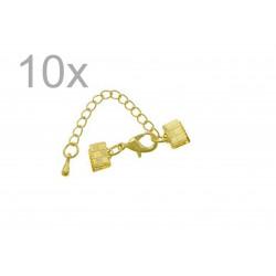 10x 7mm Bandklemme gold Verschluss mit Karabiner und Kette goldfarben - gold Schmuckzubehör