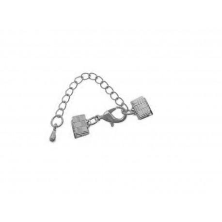 1x 7mm Bandklemme silber Verschluss mit Karabiner und Kette - Schmuckzubehör