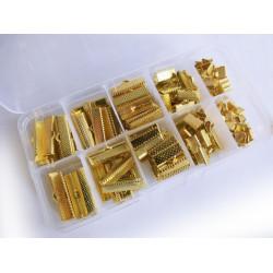 160 gold Bandklemmen 6-25mm in verschiedenen Größen Sortiment in Box - Schmuckzubehör Set