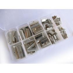 160 silber Bandklemmen 6-25mm in verschiedenen Größen Sortiment in Box - Schmuckzubehör Set