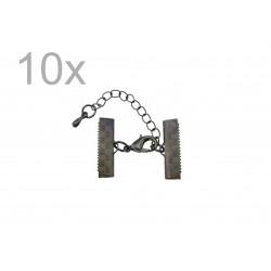 10x 20mm Bandklemme gunmetal Verschluss mit Karabiner und Kette dunkel metallfarben / schwarz - gunmetal Schmuckzubehör