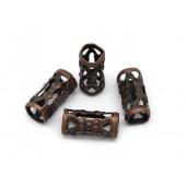 2x kupfer Metallperlen 8x4mm filigrane kupfer Grosslochperle Tube Spacer - kupfer Schmuckzubehör Metallperle