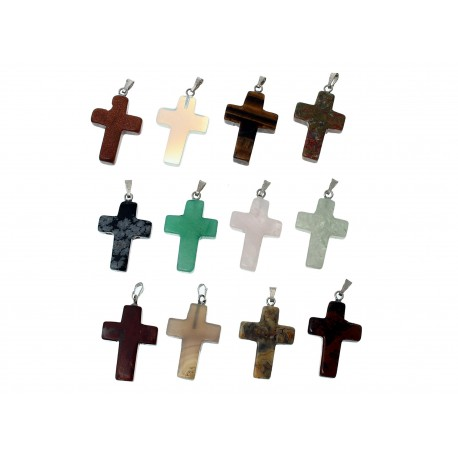 12x Naturstein Kreuz Anhänger ca. 35x18mm Anhänger Kruzifix Naturstein Schmuckanhänger - Naturstein Schmuckzubehör