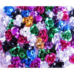 50x Aluminium Rosen 10x6,5mm Metallperlen im bunten Perlenmix - Schmuckzubehör