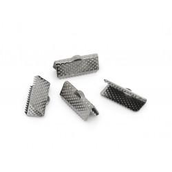 10x gunmetal Bandklemme 16mm metallschwarze Bandklemmen - gunmetal Schmuckzubehör