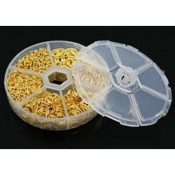 Box mit 1745x gold Biegering 4-10mm rund Spaltring goldfarben - Schmuckzubehör Set