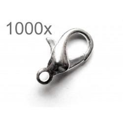 Ca. 1000x silber Karabinerhaken 12x7x3,50mm glatt silberfarbener Schmuckverschluss - Schmuckzubehör