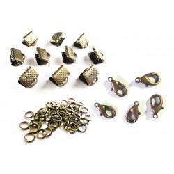 10 bronze Bandklemmen 10mm + 5 Karabiner + 20 Biegeringe als Schmuckzubehör Set für Halsbänder - bronze Schmuckzubehör Set