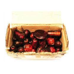 250g Perlenmix aus großen braun-roten Lampwork Glasperlen - Schmuckzubehör