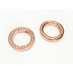 1x runder rosegold Strass Ringverschluss ca. 24x4mm rosegold Karabinerhaken - Schmuckzubehör