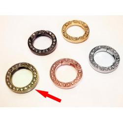 1x runder bronze Strass Ringverschluss ca. 24x4mm bronze Karabinerhaken - bronze Schmuckzubehör
