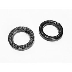 1x runder gunmetal Strass Ringverschluss ca. 24x4mm schwarzer Karabinerhaken - gunmetal Schmuckzubehör
