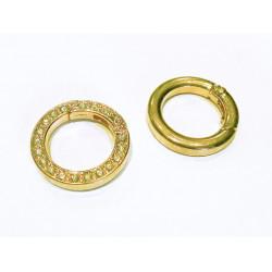 1x runder gold Strass Ringverschluss ca. 24x4mm gold Karabinerhaken - gold Schmuckzubehör