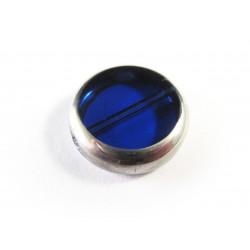 Kobaltblaue Fensterperle 14mm rund Silberrahmen