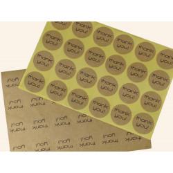 24 Sticker Durchmesser 30mm 'thank you' naturbraun, matte Aufkleber DIY - Schmuckzubehör Schmuckverpackung