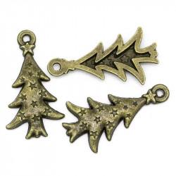 2x bronze Weihnachtsbaum Anhänger ca. 26,5x14mm X-Mas bronze Schmuckanhänger - bronze Schmuckzubehör Weihnachten