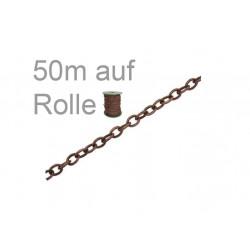 50m kupfer Kette 4x5x1mm auf Rolle kupferfarbene Gliederkette - Schmuckzubehör