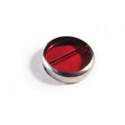 Rote Fensterperle 14mm rund Silberrahmen