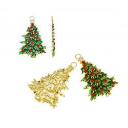 1x großer gold rot grüner Weihnachtsbaum Anhänger ca. 44x69x4mm X-Mas gold Schmuckanhänger - Schmuckzubehör Weihnachten