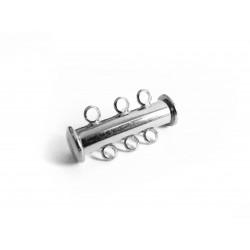 1x silber 3-Strang Magnetverschluss silber Schmuckverschluss - Schmuckzubehör Magnetverschluss