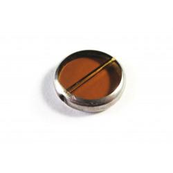 Braune Fensterperle 14mm rund Silberrahmen