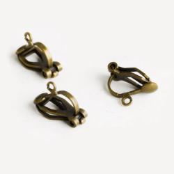 2 Stück / 1 Paar bronze Ohrclips 13x9mm bronze Ohrringe ohne Löcher - Schmuckzubehör Ohrclips basteln