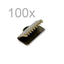 100x bronze Bandklemme 13mm bronzefarbene Bandklemmen Samtbandklemmen - bronze Schmuckzubehör