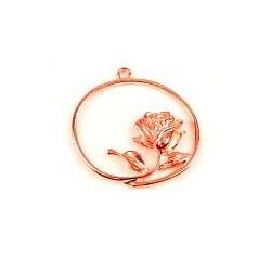 1x rose gold Anhänger mit Rose ca. 36x34mm rosegold Schmuckanhänger - rose gold Schmuckzubehör