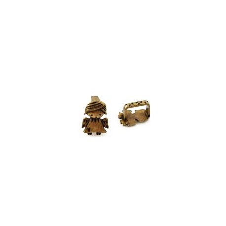 1x bronze Schiebeperle Schutzengel 14x10mm Innen 10x6,5mm Großlochperle Engel - bronze Schmuckzubehör Schiebeperle
