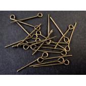 30 bronze Kettelstifte 16mm bronzefarben Schmuckdraht mit Öse - bronze Schmuckzubehör