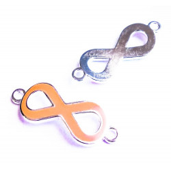 1x orange silber Infinity 40x15x4mm Unendlichkeitszeichen Lederband Verbinder - Schmuckzubehör