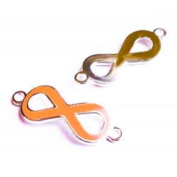 1x gold orange Infinity 40x15x4mm Unendlichkeitszeichen Lederband Verbinder - Schmuckzubehör