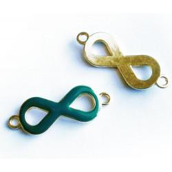 1x gold petrol Infinity 40x15x4mm Unendlichkeitszeichen Lederband Verbinder - Schmuckzubehör