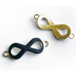 1x gold schwarzblau Infinity 40x15x4mm Unendlichkeitszeichen Lederband Verbinder - Schmuckzubehör