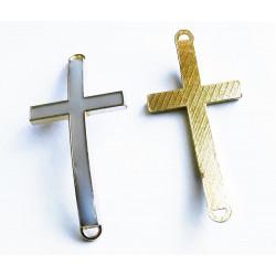 1x gold graues Kreuz 46x23x5mm Zwischenstück Lederband Verbinder - Schmuckzubehör