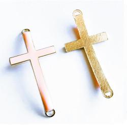 1x gold cremerosa Kreuz 46x23x5mm Zwischenstück Lederband Verbinder - Schmuckzubehör