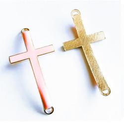 1x gold rosa Kreuz 46x23x5mm Zwischenstück Lederband Verbinder - Schmuckzubehör