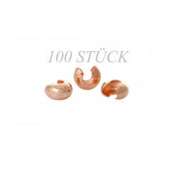 100 rosegold Kaschierperlen 6mm Dicke ca. 3,8mm rose gold Cover Crimp Perlen - rose gold Schmuckzubehör