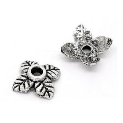 10x flache silber Perlenkappen ca. 6x6x2mm silberfarbene runde Perlen Kappen - Schmuckzubehör Perlenkappe