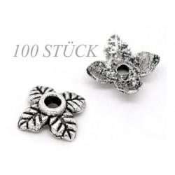 100 flache silber Perlenkappen ca. 6x6x2mm Blattform silberfarbene runde Perlen Kappen - Schmuckzubehör Perlenkappe