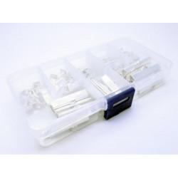 100 hellsilber Bandklemmen 6-35mm in verschiedenen Größen Sortiment in Box - Schmuckzubehör Set